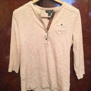 Ralph Lauren Tan Cotton & Leather Shoulder Top M